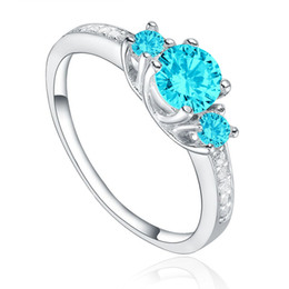 with rhodium Plating, Aqua Color CZ Blue Stone Silver wedding rings for women with romantic design