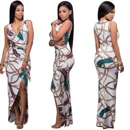 hot selling stamping V tie long dress vestido para mujer printed dress skirt