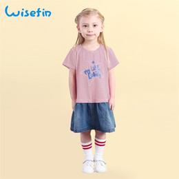 Wisefin Girls Dresses Summer Children Short Sleeve Kids Dress Striped Patchwork Jean Cute O Neck Cotton Dress Baby Clothes 2018