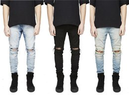 2019 NEW Wholesale- Fashion Men Straight Slim Pants Denim Jean Pants Ripped Skinny Trousers New Men's Jeans Clothes