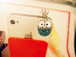 Cute Big Eyed Diamond Owl Phone Dust Plug Cell Phone Accessories 3.5mm Earphone Dust Plug free shipping 2018 new high quality OEM wholsale