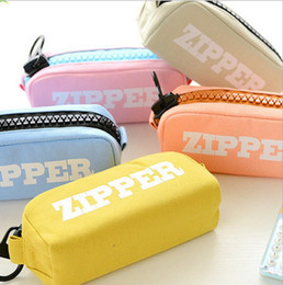 Large zipper pencil large capacity simple canvas 8.07*3.35*2.76 inch pencil case pencil bag male and female student storage bag