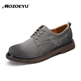 2018 Spring Breathable Men Flats Casual Shoes Leather Work Waterproof Men Fashion Lace Up Round Wide Shoes