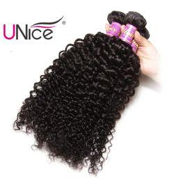 UNice Hair Virgin Curly Wave 3 Bundles Brazilian Human Hair Bundles Peruvian Indian Malaysian Hair Weaves Nice Curl Wholesale Bulk Price