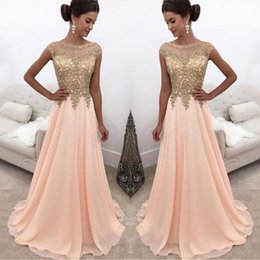 2018 Peach Gold Applique Lace Prom Dresses Cap Sleeves A Line See Through Sheer Evening Gowns For Bridal Party BA6652