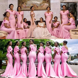2018 African Pink Bridesmaid Dresses Long Mermaid Cheap Off Shoulder maid of honor Mermaid Custom Made Wedding Party Guest Gowns