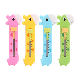 Cute Giraffe Utility Knife Paper Cutter Cutting Paper Razor Blade Office Stationery Escolar Papelaria School Supply free shipping 2018 new