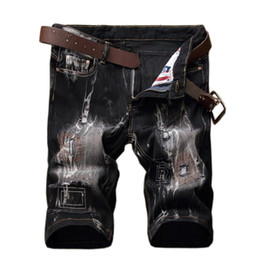 Cool summer. European and American holes, patches, embroidered jeans, shorts, men's elastic five points trousers, youth straight tube cultiv