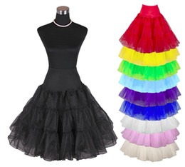 "Cheap In Stock Women's 50s Vintage Rockabilly Petticoat 25"" Length Colorful Underskirt Tutu Tulle Skirt for Wedding Dress"