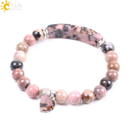CSJA Discount Natural Gemstone Bangle Line Rhodonite Love Heart Fitting Healing Mala Beads Bracelets Rectangle Stones for Women Jewelry F104