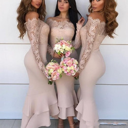 2019 Sexy Off Shoulder African Bridesmaid Dresses Lace Long Sleeve Mermaid Wedding Guest Dress Maid of Honor Cheap Cocktail Gowns BA8976