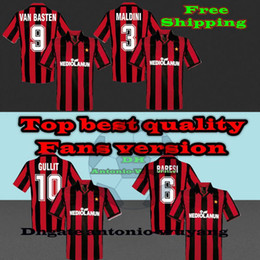 1991-1992 AC Milan home Soccer Jersey Soccer Shirt Customized Baresi 6 Maldini 3 Gullit 10 Van Basten 9 football uniform Sales