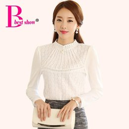 Fashionable Women Shirts Winter 2018 Women Tops Fashion Casual Long Sleeve Thicken Fleece Diamond Beaded Lace Blouse White Black