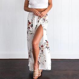 2018 summer dress code and loose Chiffon printed split wide leg pants pants