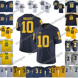 NCAA Michigan Wolverines #10 Tom Brady 2 Charles Woodson Navy Blue White Yellow Stitched College Football Jerseys S-3XL Free Shopping