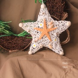 "H7"" Set of 5 Party Wall Star Hangings Hollow Out Natural Beach Starfish Ocean Style Hangers Sumnmer Home Decoration White Wedding Decor"