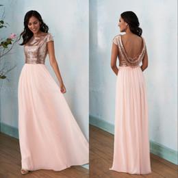 Rose Gold Bridesmaids Dress 2019 Prom Dresses Boat Neckline A Line Long Cap Sleeve Sequin Floor Length Poly Chiffon Bridesmaid Dress