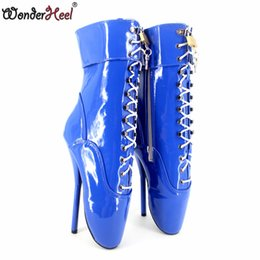 Wonderheel Extreme high heel red patent leather 18cm stilleto heel women sexy ballet boots with lockable padlocks fashion boots