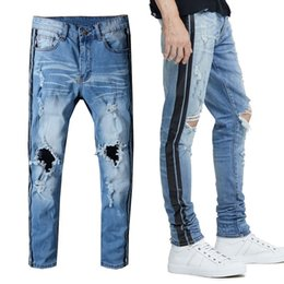 Top Fashion Men's Distressed Hollow Skinny Jeans With Black Stripe Print Ripped Hole Denim Pants Blue Long Trousers Size28-40 Free Shiping