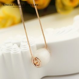 Lucky for You Rose Gold Color High Quality White Opal Barrel-Shaped Style Woman Pendant Necklace Wholesale Gift