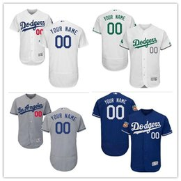 custom Men's women youth Majestic LA Dodgers Jersey #00 Any Your name and your number Home Blue Grey White Kids Girls Baseball Jerseys