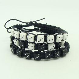 Fashion acrylic bead Dice braided bracelet Multicolored rope Rainbow Friendship Bracelet handmade Kids bracelet free shipping