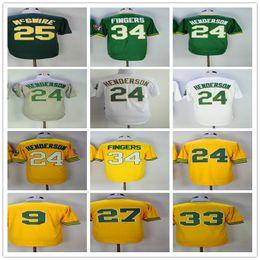 Throwback Men Jersey 24 Rickey Henderson 35 Rickey Henderson 25 Mark Mcgwire 33 Jose Canseco Baseball Jerseys