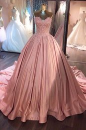 2018 Pink Ball Gown Prom Dresses Sweetheart Lace Ruffled Satin Corset Dusty Rose Quinceanera Dresses Sweet 16 Gowns Evening Dresses
