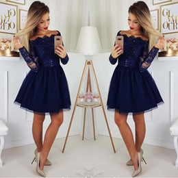 2019 Long Sleeves Lace A-Line Homecoming Dresses Tulle Applique Short Prom Cocktail Party Dresses Plus Size Vestidos De Festa BC0062
