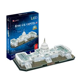 Cubicfun 3D Puzzle the US Capitol 150Pcs with LED Light Foam Paper Jigsaw Educational Toy Assembly DIY Building Model Gifts