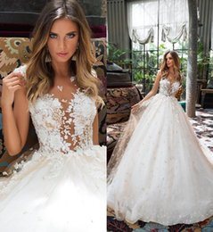 Milla Nova Champagne Lace Wedding Dresses A Line Boho Pearls Bridal Gowns Illusion Sheer Dubai 3D Floral Wedding Gowns