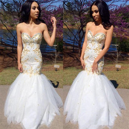 white and gold Arabic Evening Dresses Charming Backless Mermaid Long Prom Gowns Sequins Sweetheart Neck Floor Length Lace Tulle skirt 2019