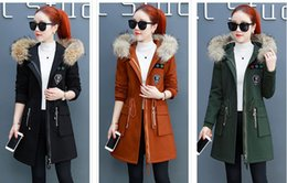 Hot New Hooded Women's Fur collar Winter warm Velvet padded coat women's Outerwear plus size Women's Trench Coats black