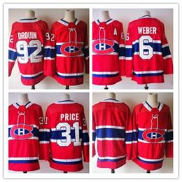 2018 Season 92 Jonathan Drouin Jersey 31 Carey Price 6 Shea Weber Blank Red Montreal Canadiens Hockey Jerseys