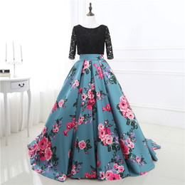 Black Lace Prom Dresses Romantic prom Dresses Chapel Train Robe De Mariage High Neck Flower Pattern ID0089
