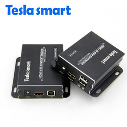 Tesla smart KVM Extender High Quality 60m 197ft USB HDMI IR KVM Extender by CAT5e 6 TCP IP (1 TX+1 RX)
