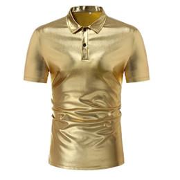 New Men's Fashion Nightclub Shiny Gold Silver Social Shirt Short Sleeve Turn down Collar Men Shirt Men Slim Fit Chemise Homme