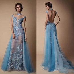 Berta Illusion Dresses Evening Wear High Collar Sexy Prom Dress Backless Mermaid Runway Fashion Gown With Detachable Train