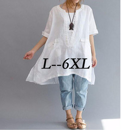 Hot SellEuramerica Classical Plus Size L-6XL Blouse Women's Loose Big Yard Short Sleeved Lady's Long Shirt Fashion Fancy Blouse Mujer Blusa