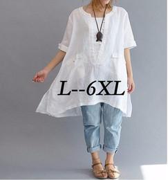 Hot SellEuramerica Classical Plus Size L-6XL Blouse Women's Loose Big Yard Short Sleeved Lady's Long Shirt Fashion Fancy Blouse Mujer Blusa