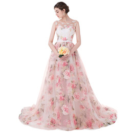 Pink Prom Dresses with flower pattern Romantic prom Dresses Illusion Neckline Printed chaple train Lace up back Evening Gown CMW0012