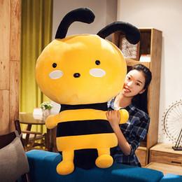 Dorimytrader New Lovely Cartoon Bee Plush Toy Giant Stuffed Cartoon Honeybee Doll Pillow Gift Wedding Deco 31inch 80cm DY50515
