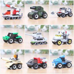 Cars Building Blocks Minifig Fire truck police car Mini Figure Toys Ninja figures crane Raytheon Reconnaissance tank Excavator Plane