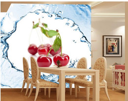 Custom 3d Photo Wall paper Original Fresh Fruit Strawberry Cherry Tomato Cherry Spray Background Wall Art Mural for Living Room Large Pai