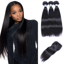 Malaysian Straight Hair Bundles with Closure Free Middle 3 Part Double Weft Human Hair Extensions Dyeable Human Hair Weave