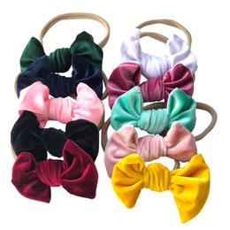 Baby Girl Velvet Bowknot Headbands Girls Velvet Bow Hair Nylon Headband Accessories Kids Photo Props 10pcs lot
