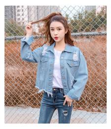 2018 Fashion Women Autumn Brief paragraph Cowboy Coat Big yards Leisure Pure color Cultivate one's morality Cowboy Coat