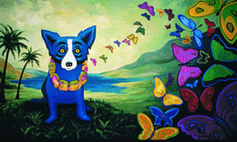 George Rodrigue Animal Blue Dog,Oil Painting Reproduction High Quality Giclee Print on Canvas Modern Home Art Decor G002