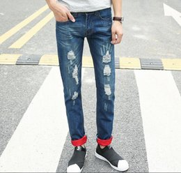 2018 Tide pants tattered jeans beggars holes men's leisure national ghosts prints embroidery and embroidery jeans