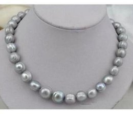 Elegant 11-12mm Natural South Sea Gray Pearl Necklace 18inch 14K Gold Clasp